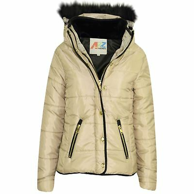 Girls Jacket Kids Stone Padded Puffer Bubble Fur Collar Quilted Warm Thick Coats
