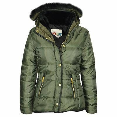Girls Jacket Kids Olive Padded Puffer Bubble Fur Collar Quilted Warm Thick Coats