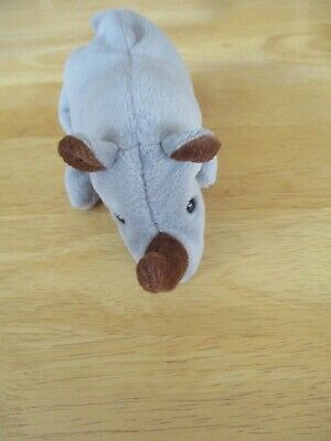 "TY Beanie Babies Gray Rhino /Brown Horn Named Spike 7"" Long 1996 Tag"