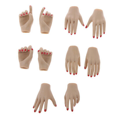 8PC 4 Pair 1//6 12/'/' Female Figure Hands Hand Models Normal Skin Green Nails