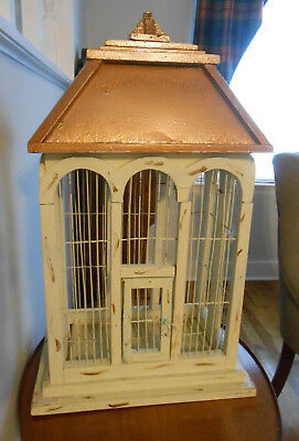 Vintage Wooden Bird Cage with Metal Roof and Removable Tray