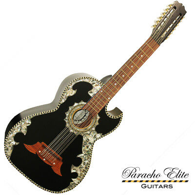Paracho Elite BELLEZA 12 String Bajo Sexto Satin Black Ebony Acoustic Guitar