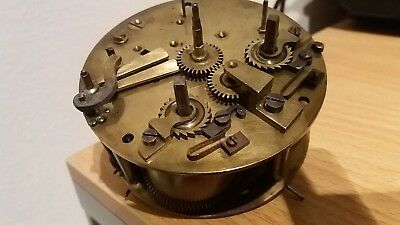 French Round Clock Movement.springs Good. Spares Or Repairs Only.