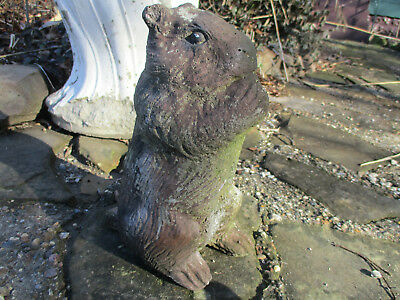 "Old Chipmunk Eating Nut Vintage Cement/concrete Garden Statue Weathered 10"" Tall"