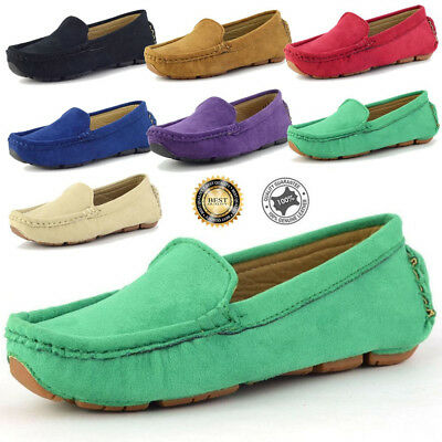 Boy's Slip On Casual Loafers Round soft Toe Flats Genuine Suede Shoes