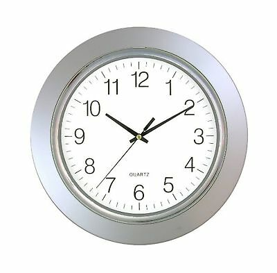 """Timekeeper 13"""" Clock with Silver Frame and Chrome Bezel / Flat Glass Lens, Si..."""