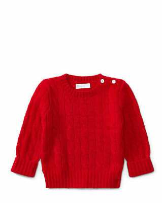 Ralph Lauren Red Cable Knit Cashmere Country Sweater Unisex 12 Months Bnwt $195