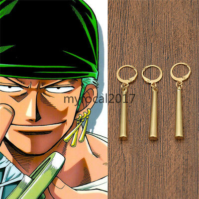 3PCS One Piece Roronoa Zoro Earrings Anime Cosplay Props Accessories Fashion