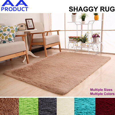 Shaggy Rug Floor Carpet Fluffy Soft Mat Small Medium Large Green White Grey Tan