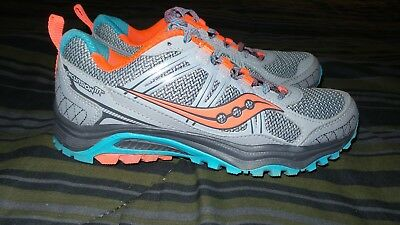 3354b71d8e44 SAUCONY EXCURSION TR 10 Gray Orange Trail Running Shoes Women s Size 8 NICE!