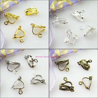 16Pcs Clip On Earring Earwire 10x13mm Gold Silver Dull Silver Bronze Plated