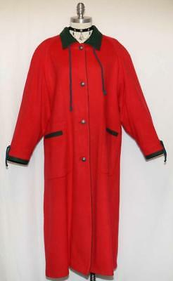 WOOL RED Trench Over COAT Austria Winter WARM LINING EXTRA LONG Dress XL B48""