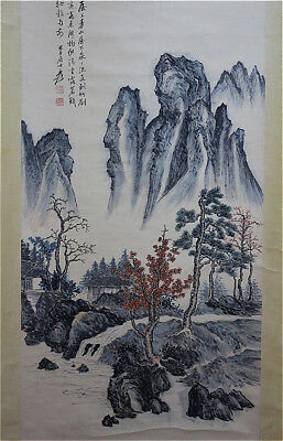 Excellent Chinese 100% Hand Painting & Scroll Landscape By Zhang Daqian 张大千 DZYB