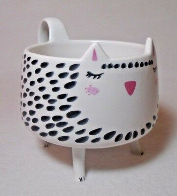 Arlington Designs White Spotted Kitty Cat with Legs Coffee Mug Cup