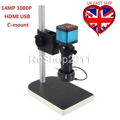 14MP 1080P HDMI USB Digital Industry Video Microscope Camera C-mount Lens DVR UK