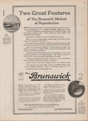 1918 Brunswick Phonograph Record Player Ultona Method Print Ad