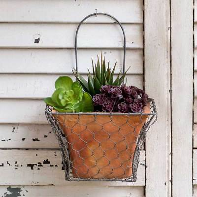 Outdoor Hanging Chicken Wire Wall Basket Wall Planters Rustic Flowers Herbs New