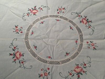 "Vtg Embroidered Cross Stitched Crocheted 32"" Round Scalloped Tablecloth Table"