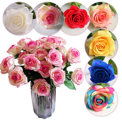 1/10pc Artificial Real Touch Silk Flowers Rose Bunch Wedding Home Grave Outdoor