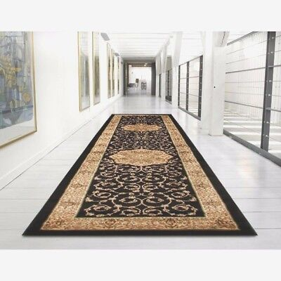 Hallway Runner Hall Runner Rug Traditional Black 3 Metres Long FREE DELIVERY IB3