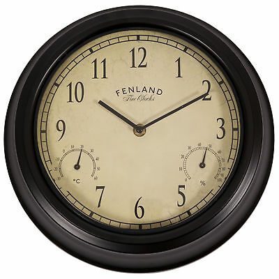 """Garden Wall Clock Outdoor Living 30cm/12"""" Metal with Thermometer Hygrometer"""
