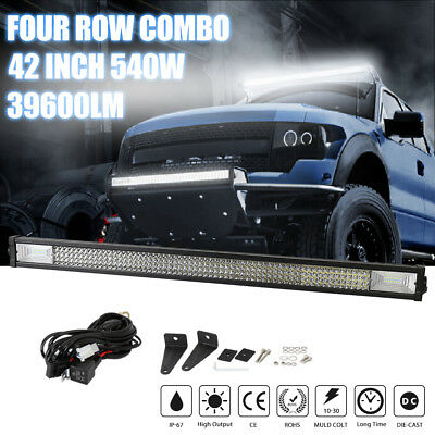 540W 4-ROW 42inch LED Light Bar Flood Spot Driving Fog Lamp Offroad SUV IP68