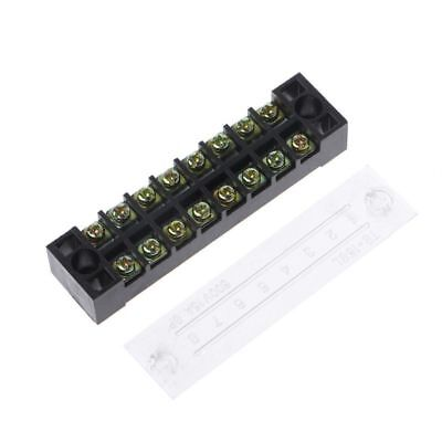 600V 15A 8 Positions Dual Rows Covered Barrier Screw Terminal Block Strip Hot