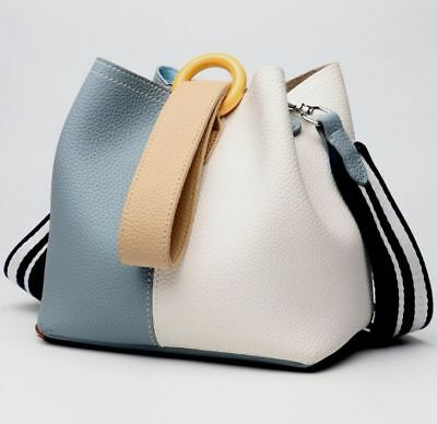 60fb1f28313c New Women Genuine Cow Leather Shoulder Bag Handbag Bucket Bag Purse S +Strap