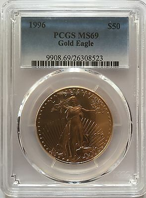 1996 Gold Eagle $50 Pcgs Ms69 Low Pop In Ms70 Only 16 Coins