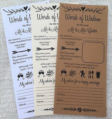 Wedding Words Of Wisdom Card Scrolls Advice Bride Groom Favour W101