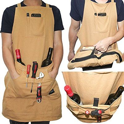 Heavy Duty Cotton Canvas Utility Work Bib Apron, Durable With Special Handle For