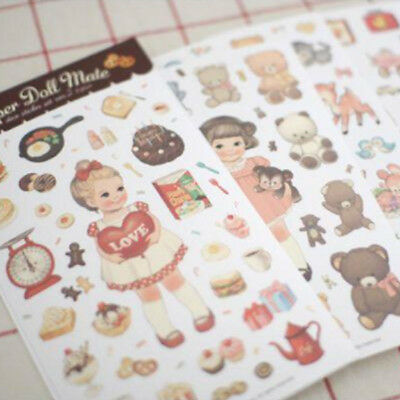Dolly Girl PAPER DOLL MATE Dress Up Stickers Kawaii Vintage - Design 2 - Paper