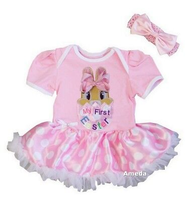 Baby Happy First Easter Bodysuit Tutu and Headband 2pcs Dress Outfit