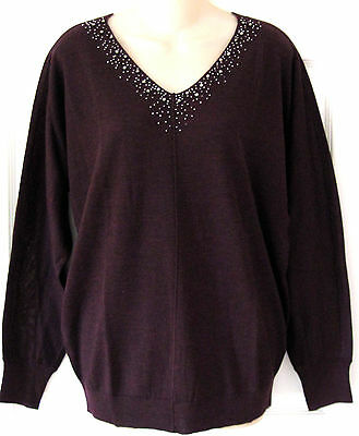 NWT Ann Taylor Loft Maternity Beaded V-Neck Sweater M Deep Eggplant Purple $74