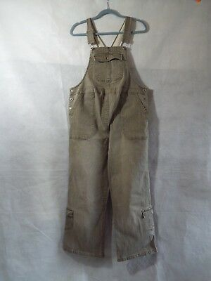 Maternity Dungarees Size 12 L25 Denim Overalls Jumpsuit Overalls M Taupe Stretch