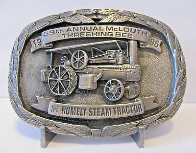 Rumely 1914 Steam Tractor Engine Belt Buckle 1996 McLouth KS 39th Threshing Bee