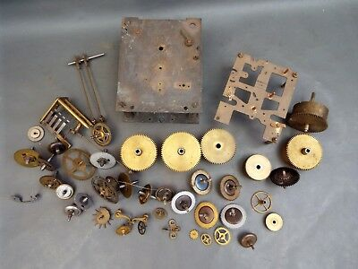 Vintage job lot of clock parts cogs barrels etc. - spares repair or steampunk