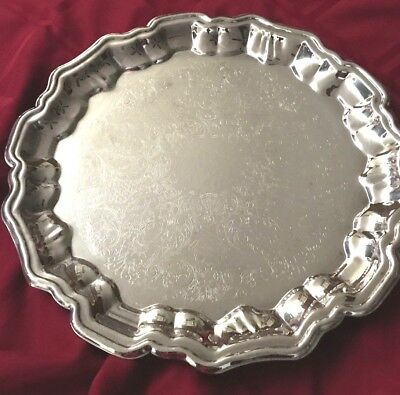 "Beautiful Leonard Silver Plate Scolloped 14"" Footed ServingTray"