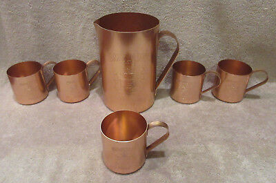 VINTAGE 1980 SMIRNOFF Mule Pitcher & Cups Mugs Set - Collectible Copper Colored