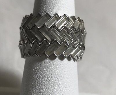 Vintage 925 Sterling Silver Pave Rhinestone Cocktail Ring Sz 7.5
