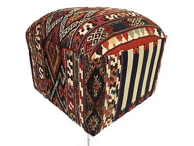 "Superb Ottoman Upholstered w/Antique Tribal Azeri Kilim 18"" H"