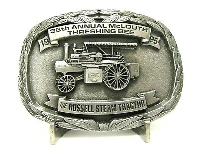 Russell 25-75 Steam Tractor Belt Buckle 1995 McLouth KS 38th Threshing Bee 8th