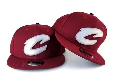 new concept a18a3 768b8 New Era Cleveland Cavaliers Clear Rubber Badge Logo 9Fifty Snapback Hat  Burgundy