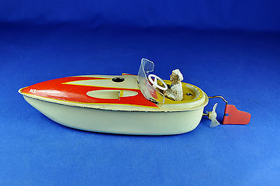Blechspielzeug Motorboot / Tin Toy Motor Boat, MS, ca. 1950-60er / abt. 1950-60