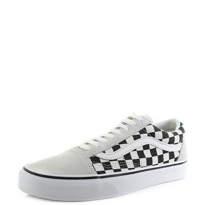 187c03fe71438a Mens Vans Old Skool Checkerboard White Black Suede Canvas Trainers Shu Size