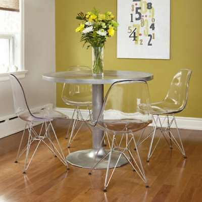 Eiffel Retro White Dining Chair Clear Ghost Chair Plastic Home Office Chair
