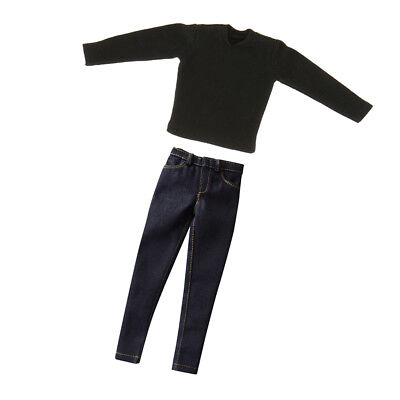 1/6 Male Clothes Black T-shirt & Jeans for 12inch Hot Toys Enterbay Figures