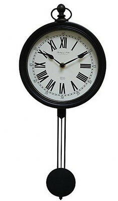 Vintage Black Pendulum Wall Clock Old Fashioned Style Home Decor Roman Numerals