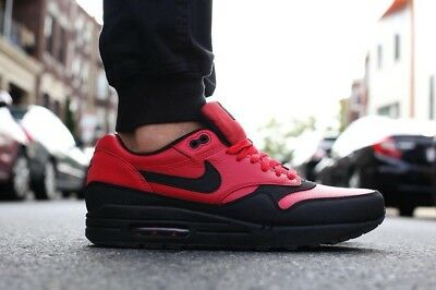 premium selection f59eb 925e5 Nike Air Max 1 LTR Leather Premium Gym Red Black 705282-600 Size 9.5US