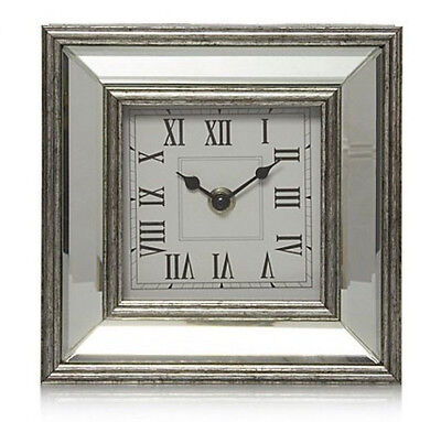 Silver Mirrored Glass Mantel Clock Home Decor Desk Mantelpiece Vintage Style